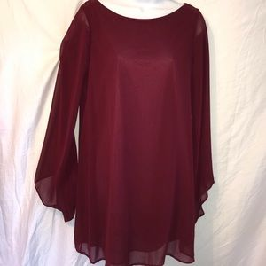 Lush burgundy wine dress with sheer flowy sleeves